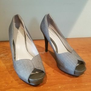 Nine West | Grey Peep Toe Heels